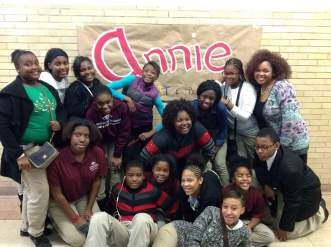 Ms. B with her students after their Annie show